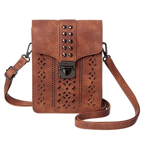 MINICAT Women Hollow Texture Small Crossbody Bags Cell Phone Purse Wallet With Credit Card Holder (Brown-Wider)