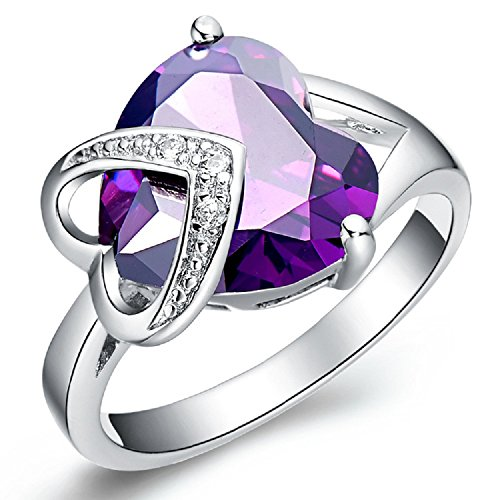 BMALL 18k White Gold Plated crystal Diamond Stone Double Love Heart Purple Gemstone Ring