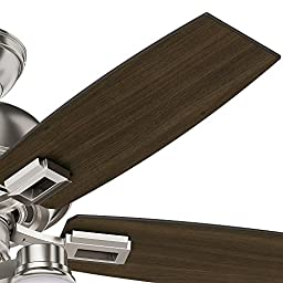 Hunter 52230 Casual Donegan Three Light Brushed Nickel Ceiling Fan With Light, 44\