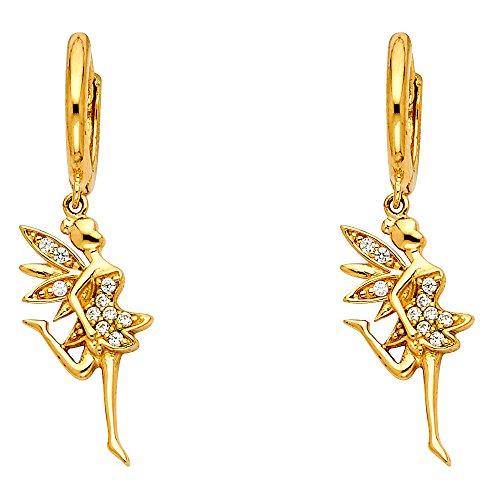 14k Ballerina - 14k Yellow Gold Fancy Huggie Dangle Ballerina Earrings (9 x 38mm)