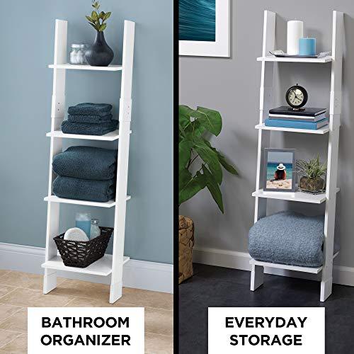 Zenna Home Ladder Style Bathroom Linen Tower, White (Shelf Ladder Wall)