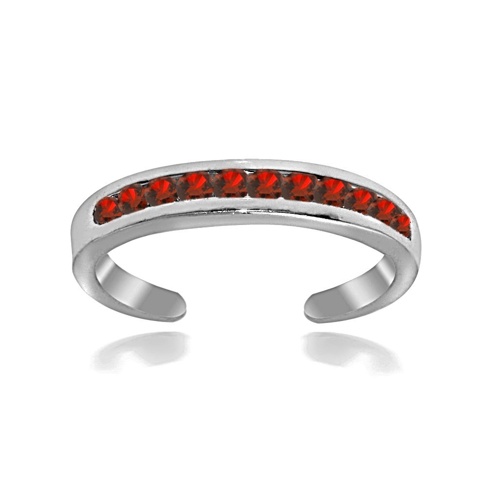 Hoops & Loops Sterling Silver Channel-Set Red Toe Ring