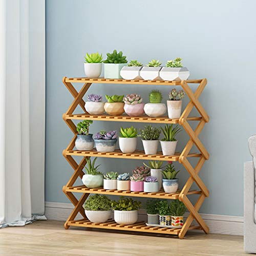 Summer Promotional Flower Stand Floor-Standing Flower Pot Rack for Balcony Living Room, Wooden Multi-Layer Decoration Rack (Color : 5 Layers, Size : 50cm)
