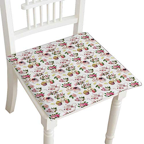 (Indoor/Outdoor All Weather Chair Pads Tea time Floral Cups with Rose and Cherry Flowers Cake andtea Pot Repeating Seat Cushions Garden Patio Home Chair Cushions 28