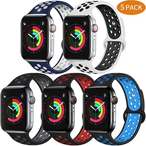 Bravely klimbing Compatible with Apple Watch Band 44mm 42mm, Soft Silicone iWatch Bands Replacement Sport Bands for iWatch Series 4/3/2/1 for Men and Women M/L 5 Pack B