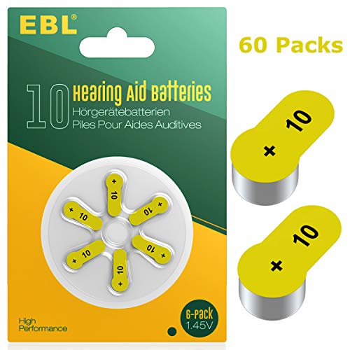 EBL Size 10 PR70 Hearing Aid Batteries 60 Pack 1.45V Zinc-Air Battery by EBL