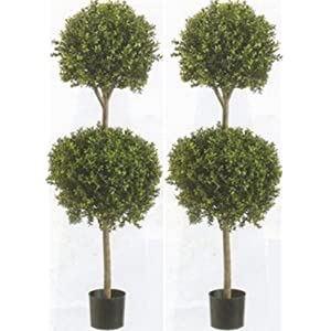 Two 56 Inch Artificial Boxwood Double Ball Topiary Trees Potted 33