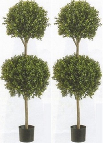 Two 56 Inch Artificial Boxwood Double Ball Topiary Trees ()