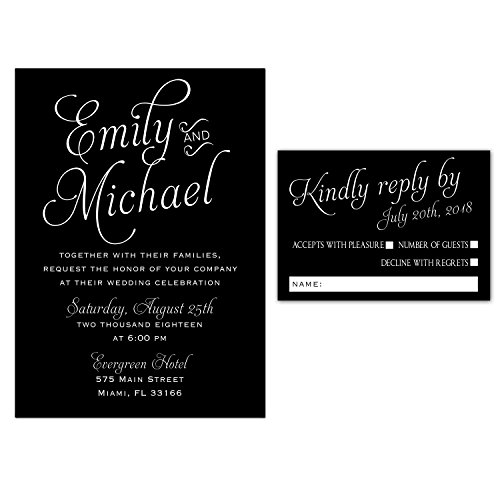 100 Wedding Invitations Black White Gothic Style Elegant Design + Envelopes + Response Cards Set by Pink The Cat