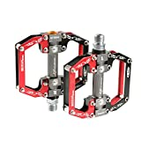 "RockBros Aluminum Alloy Cycling Bike Platform Pedals Sealed Bearing Axle 9/16"" (Black Red)"
