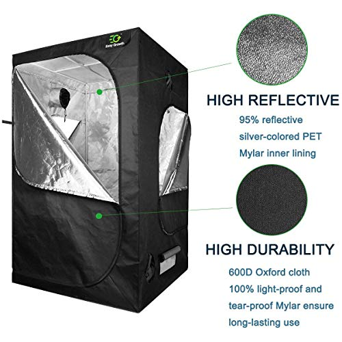 EasyGrowth 40''x40''x80'' Reflective Mylar Hydroponic Grow Tent with Observation Window and Waterproof Floor Tray for Indoor Plant Growing by EasyGrowth (Image #5)