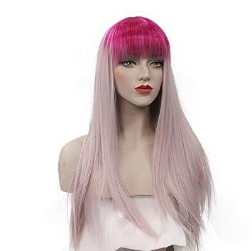 GAIHU Recta larga peluca gris y rosa con golpes en la cabeza llena la peluca de