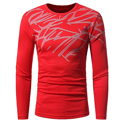 ZYEE Clearance Sale! Men's Long-Sleeved Men Autumn Winter Top Fashion Printing T-Shirt Blouse