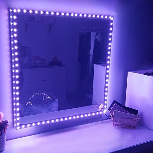 RGB LED Vanity Mirror Lights Kit for Makeup Dressing Table Vanity Set 16.4ft Flexible Multi Color LED Light Strip with Remote and Power Supply, DIY Hollywood Mirror Lights - Dressing Traditional Mirror