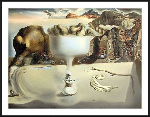 Salvador Dali Dish - Alonline Art - Apparition Of Face Fruit Dish by Salvador Dali | Black Aluminum framed picture printed on 100% cotton canvas, attached to the foam board | Ready to hang frame | 17