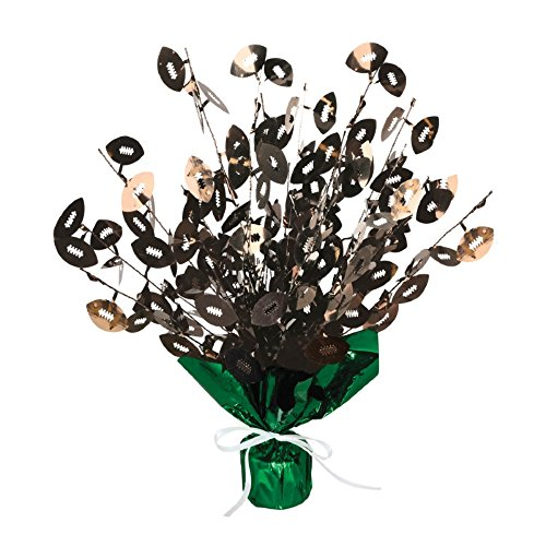 Club Pack of 12 Brown Football Gleam 'N Burst Cascading Decorative Centerpieces 15'' ()