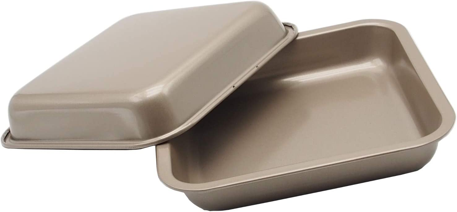Small Baking Pans 8 X 8 Inch (Inner Size 7.5 X 7.5 Inch) Square Cake Pan Bread Pan Nonstick Heavy Carbon Steel Bakeware for Brownies, Chicken Wings etc by HYTK (2 Pack Golden Color)