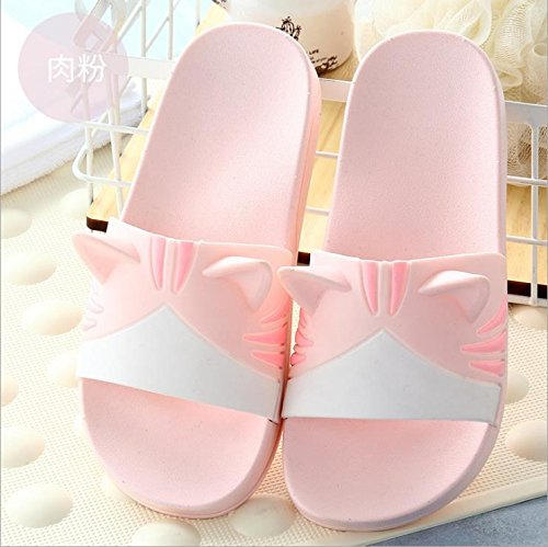 FankouLos cuartos de baño son frescos en verano zapatillas en casa de una familia de tres encantadoras parejas bañera antideslizante, base plana ,28-29 [20cm], una rosa