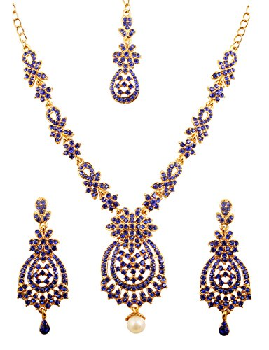 Touchstone Indian Bollywood Floral Inspired Faux Blue Sapphire Rhinestones Designer Bridal Jewelry Necklace Set for Women in Antique Gold Tone. (Faux Gold Tone Jewelry Set)