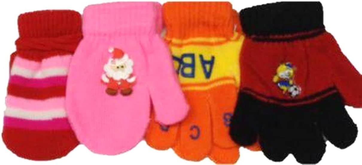 Set of Four Pairs Magic Mittens Gloves for Infants Ages 6 Months to 4 Years