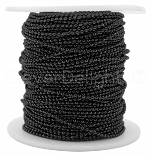 CleverDelights Ball Chain Spool - 30 Feet - 1.5mm Ball (Small) - Dark Black Color - 10 ()
