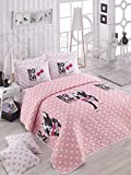 3 Pcs Soft Colored Full and Double Bedroom Bedding 65% Cotton 35% Polyester Double Quilted Bedspread Set 100% Fiber Filling Padded / Boston Terrier Bone Dog Animal Cute Circle Point / Bedspread Set