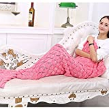 Mermaid Blanket with Scales Knitted Sleeping Bag Luxury Sofa Mermaid Tail Bed Snuggle Cozy for Adults Teens in 9 color (pink)