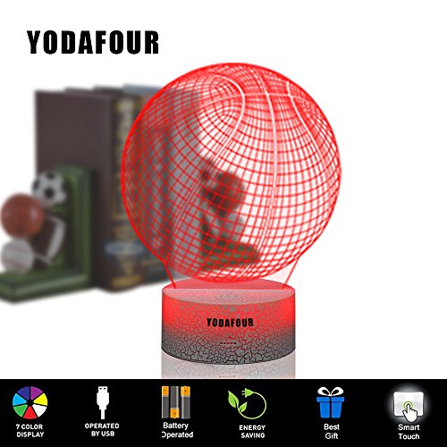 Children Gift 3D Toy Night Light 3D Illusion Lamp Xmas Halloween Birthday Anniversary Gift Nursery LED Table Night Lamps Lights for Baby Kids Children Sports Lovers by YODAFOUR (Basketball)