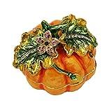 Pumpkin Figurine Box Swarovski Crystals Halloween Keepsake, Jewelry, Pill, Trinket Box