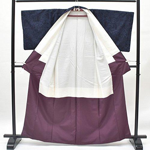 リサイクル 真綿紬 中古 正絹 つむぎ 枠取文様 裄63cm 紺系 裄Sサイズ 身丈Sサイズ ll0317a15