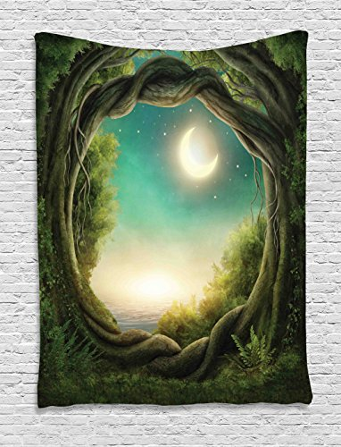 Ambesonne Forest Tapestry Decor, Trees in Enchanted Forest Full Moon Artistic Artwork Girls Boys Family, Wall Hanging Bedroom Living Room Dorm, 60 W x 80 L inches, Teal Green Cream