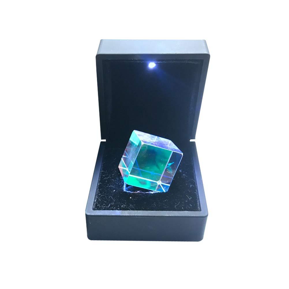 UKCOCO Cubo de prisma de dispersión RGB de vidrio óptico para enseñanzas de física Decoración Artes con delicada caja de regalo 2.0x2.0x2.0CM