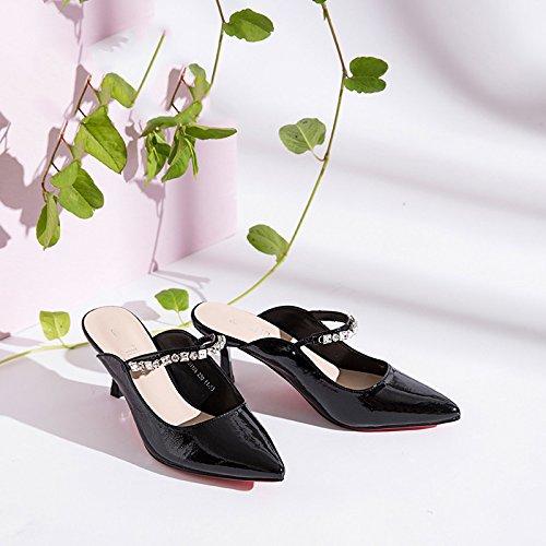 Slippers Heel Fine High Heel Baotou Black Summer tXBTwqE