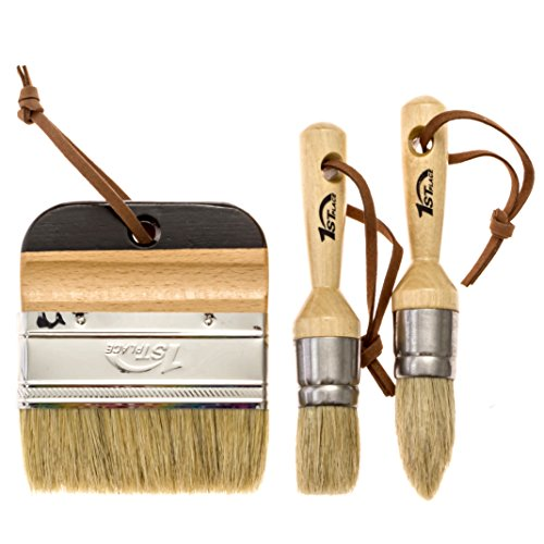 1st Place Ultra Chalk Paint & Wax 3 Piece Natural Bristle Brush Set - Annie Sloan Quality by 1st Place