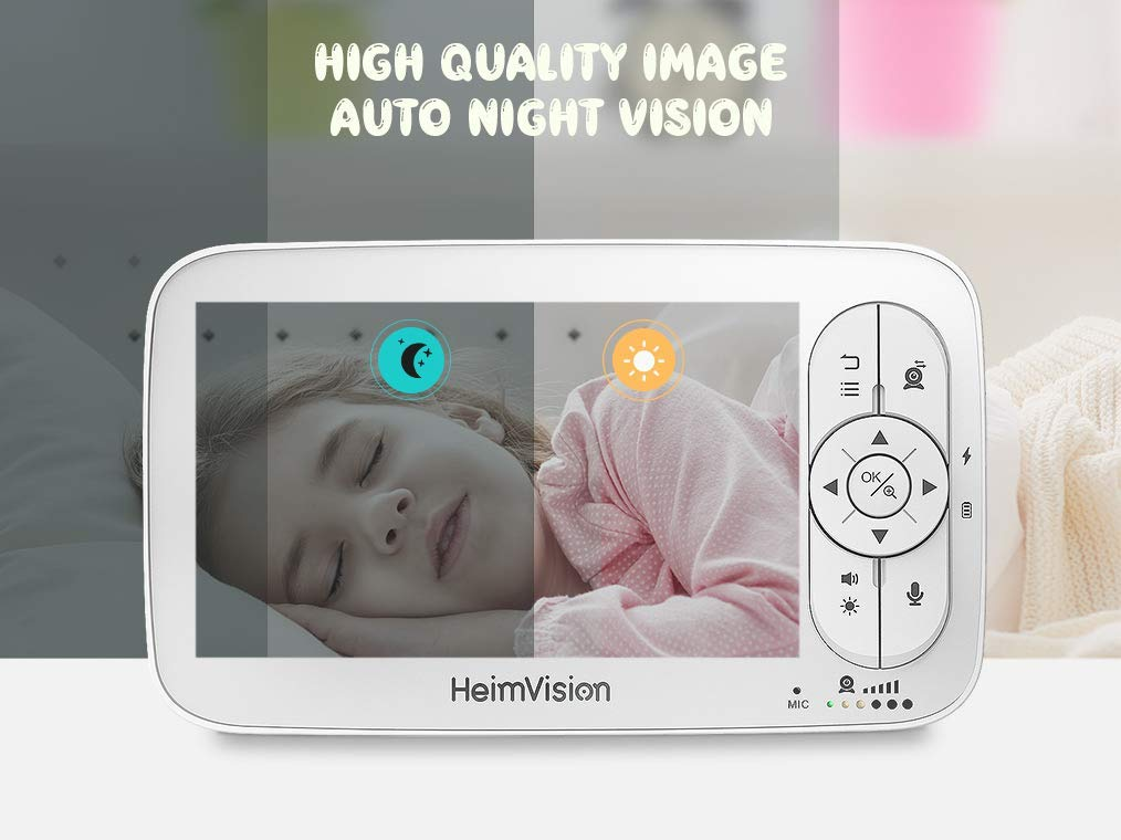 Lullaby 5 LCD Display 1000ft Connection Two-Way Audio Temperature/& Sound Alarm VOX HeimVision HM136 HD Video Baby Monitor with 720p Camera Infrared Night Vision