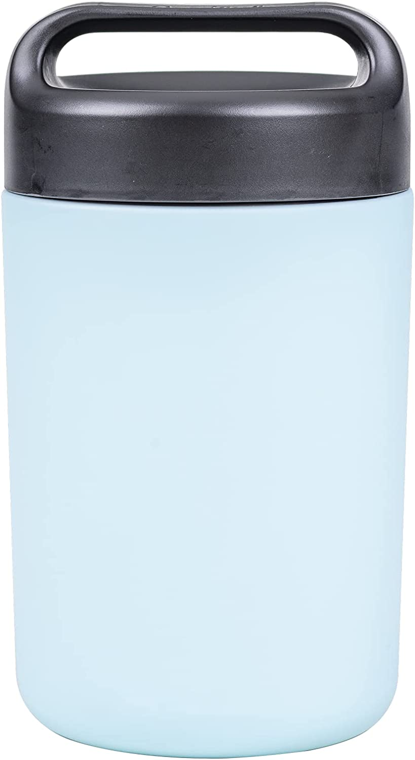 Goodful Vacuum Sealed Insulated Food Jar with Handle Lid, 16 Ounce Stainless Steel Thermos, Lunch Container, 16 Oz, Blue