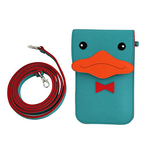 WaitingU Universal Cute 3D Cartoon Blue Duck Touch Screen Cell Phone Case Multipurpose PU Leather Two Separated Pouches Crossbody Shoulder Bag Detachable Strap for iPhone Samsung Note Moto Under 6'' (Six Feet Under Season Two compare prices)