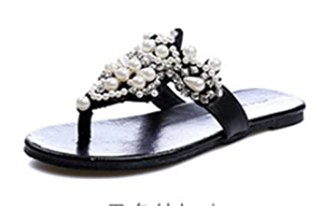 diamantes de imitación de verano sandalias de tiras planas y zapatillas sandalias antideslizantes femeninas flip flops