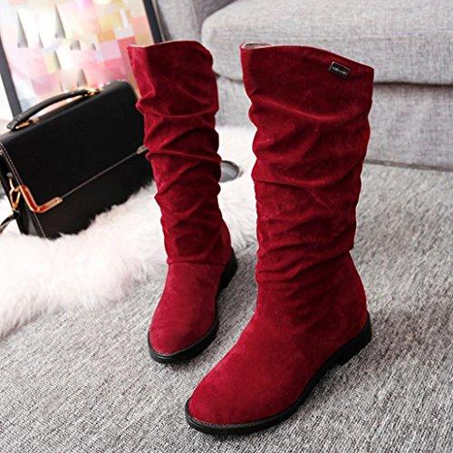Hemlock Winter Boots Womens, Women Teen Flat Boots Shoes Platform Ladies Martens Mid High Boots (US:8.5, Red)