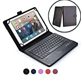 Verizon Ellipsis 10 keyboard case, COOPER INFINITE EXECUTIVE 2-in-1 Wireless Bluetooth Keyboard Magnetic Leather Travel Cases Cover Holder Folio Portfolio + Stand QTAIR7 (Black)