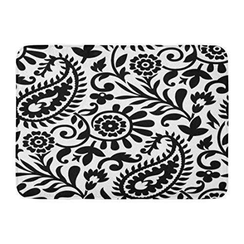 Emvency Doormats Bath Rugs Outdoor/Indoor Door Mat Floral Paisley Black and White Pattern Abstract Beautiful Beauty Bathroom Decor Rug 16