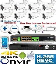 USG Sony DSP Motorized Lens 8 Camera Security System H.265 Ultra 4K PoE IP CCTV Kit : 8x 2MP 2.8-12mm Bullet Camera + 1x 36 Channel 8MP NVR + 1x 10 Port PoE Network Switch + 1x 4TB HD : Business Grade