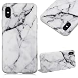 Cistor for iPhone X White Marble Case, Ultra Thin Soft Case for Apple iPhone X Matte TPU Silicone Rubber Cover Anti-Scratch Shockproof Protection Bumper with Ring Holder Kickstand
