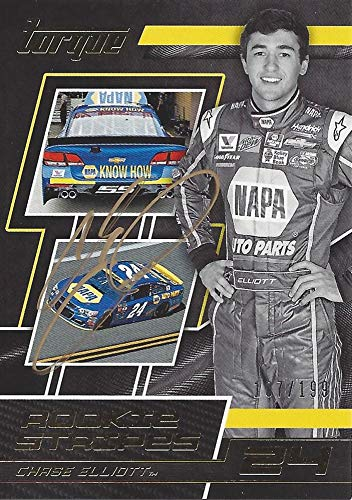 AUTOGRAPHED Chase Elliott 2017 Panini Torque Racing ROOKIE STRIPES (#24 NAPA Auto Parts) Hendrick Motorsports Parallel Insert Signed Collectible NASCAR Trading Card #107/199 with COA and Toploader