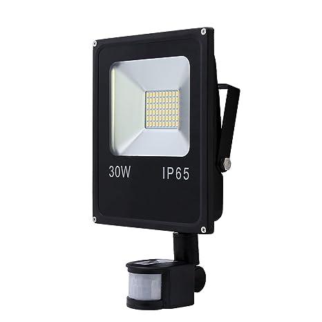 VINGO® Foco LED 30W Blanco Cálido Resistente al agua IP65 con Sensor de Movimiento