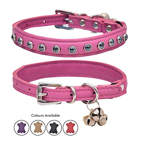 Ultra Soft Real Lamb Leather Glass Black Pearl Studded Cat Collar with Break Away Safety Elastic Embellished with Detachable Handcrafted Indian Bells (One Size, Pink)