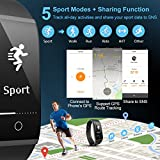 Mpow Fitness, Heart Rate Smart Bracelet Activity Tracker Bluetooth Pedometer Sleep Monitor Smartwatch iPhone Samsung Other Android iOS Smartphones, Black+New, 1