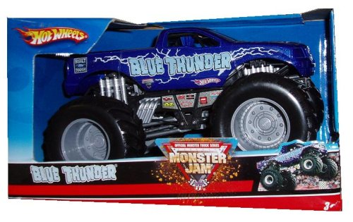 2007 Thunder - Hot Wheels Monster Jam 1:24 Scale Die Cast Official Monster Truck 2007 Series - Built Ford Tough BLUE THUNDER with Monster Tires,Working Suspension and 4 Wheel Steering