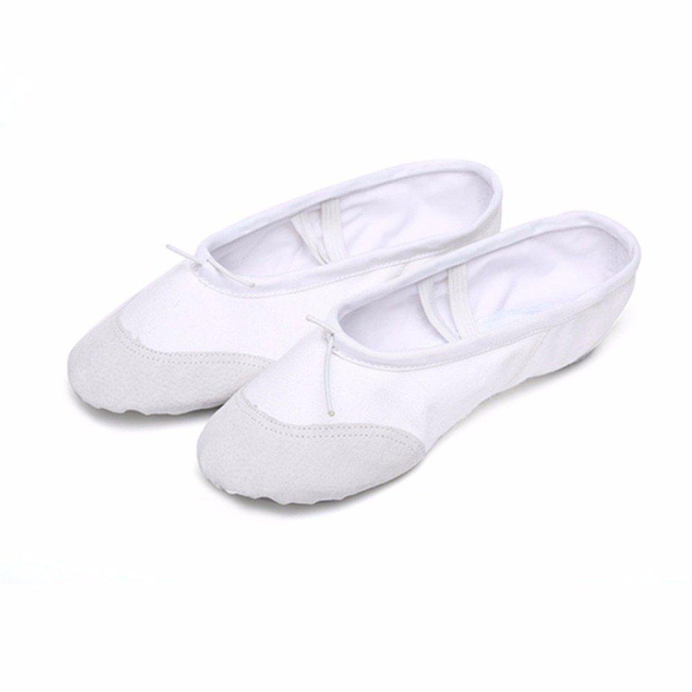 Labu Store Yoga Gym Flat Slippers White Pink White Black Canvas Ballet Dance Shoes For Girls Children Women Teacher