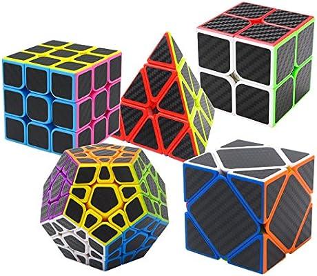Coolzon Puzzle Cubes Megaminx + Pyraminx + 2x2x2 + 3x3x3 + Skewb 5 Pack in Giftbox Cubo Magico con Pegatina de Fibra de Carbono Velocidad: Amazon.es: Juguetes y juegos